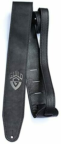 Guild Leather Guitar Strap, Leather Guitar Strap - Black - Made in the USA