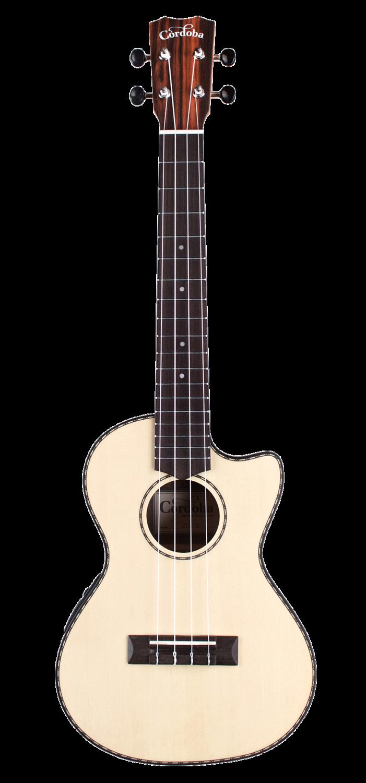 Cordoba 21T-CE Tenor Cutaway Acoustic Electric Ukulele - Solid Spruce Top, Striped Ebony Back/Sides