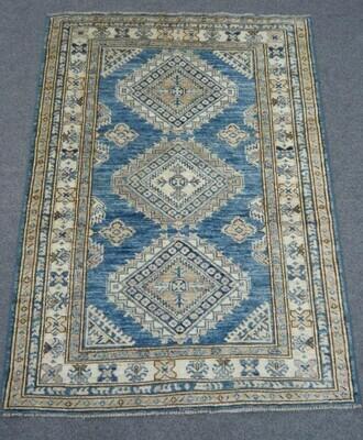 Fine Afghan Rug Blue/Cream
