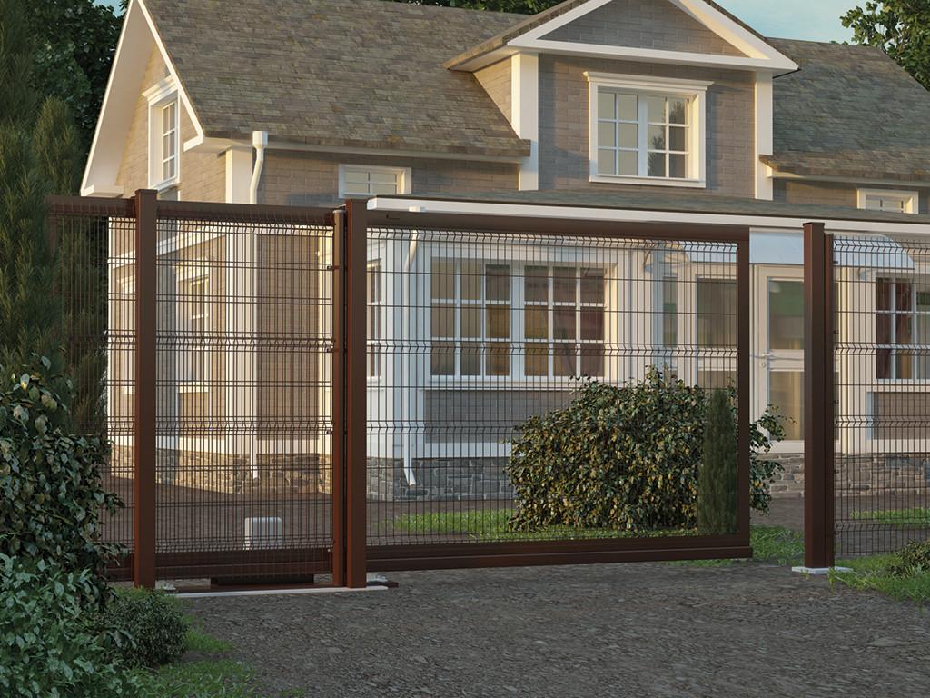 Откатные ворота с заполнением сварной сеткой 2200х1550 - 2200х3000