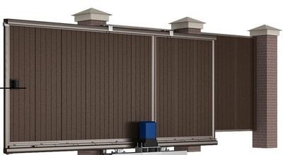 Сдвижные уличные ворота 4500х2100 коричневые