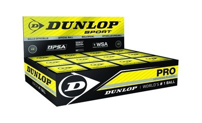 Dunlop Pro Double Yellow Spot Squash Ball - Dozen