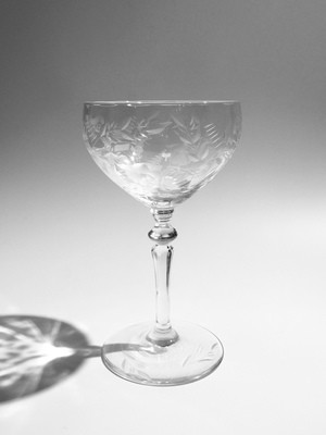 Tall Coupe, Etched fluted bowl and foot, crystal stem 8 oz