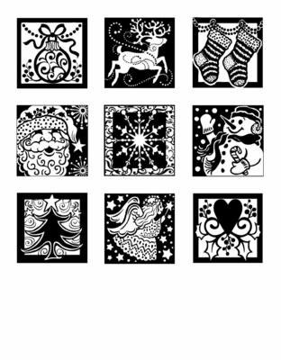 Inkadinkado Clear Stamp Holiday Spirit Inchie Bundle