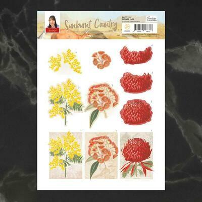 Sunburnt Country Flower Tags 3D Decoupage Sheet