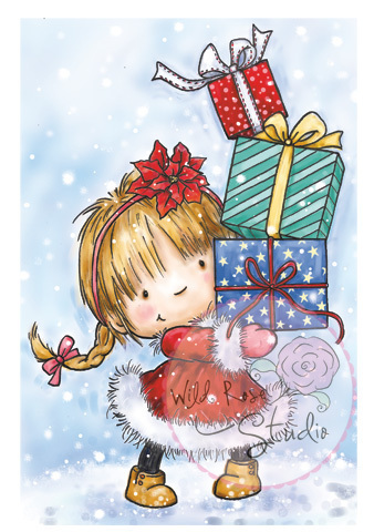 Girl with Xmas Presents Clear Stamp