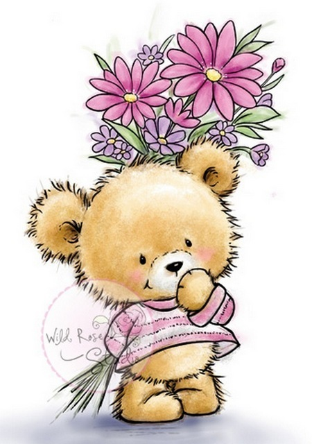 Teddy With Flowers stamp