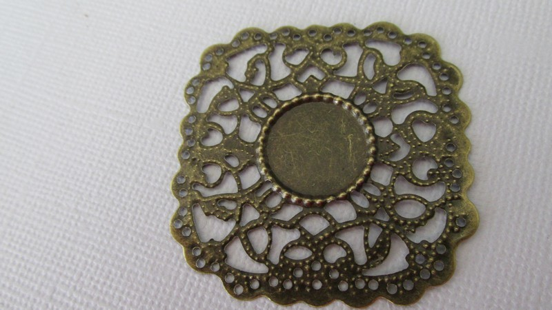 Antique Bronze Filigree Square