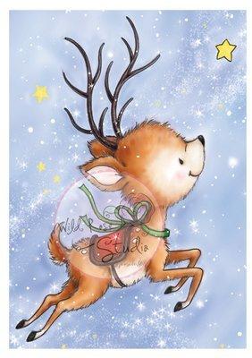 Reindeer Flying Clear Stamp
