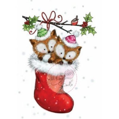 Foxes in Stocking Clear Stamp