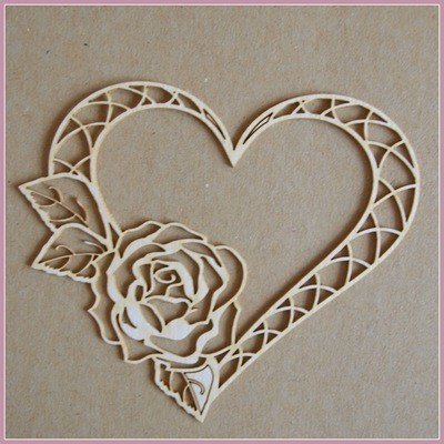 Sm Heart With a Rose chipboard