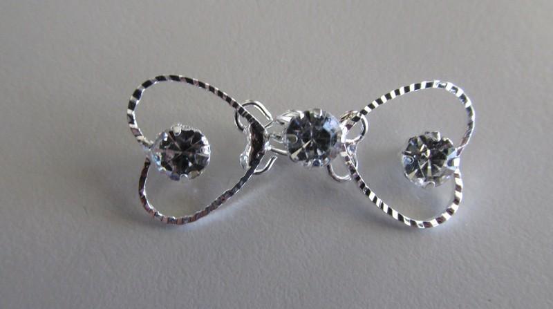 Silver Toned Heart Rhinestone Hook & Eye