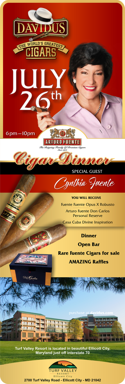 Cigar Dinner with Cynthia Fuente - Make one ticket per purchase unless your ticket holders want the same selected dinner selection.