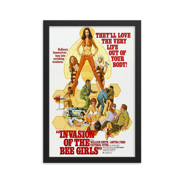 """12"""" x 18"""" Invasion of the Bee Girls Framed Movie Poster"""