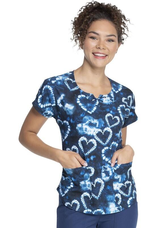 HeartSoul Prints Round Neck Top HS 685 Tie Dye Love