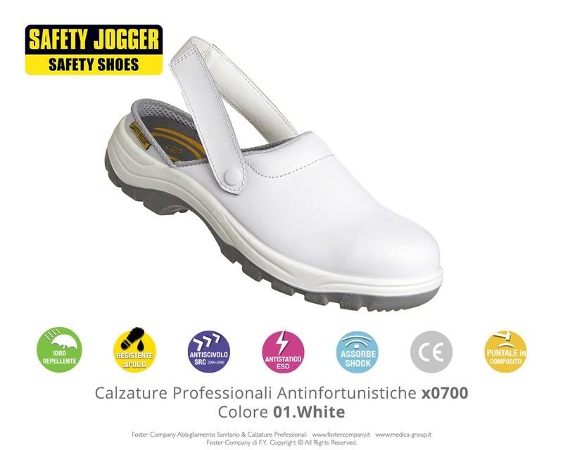 Zoccoli Professionali Antinfortunistici con Puntale di Protezione Safety Jogger X0700 Colore 01. White