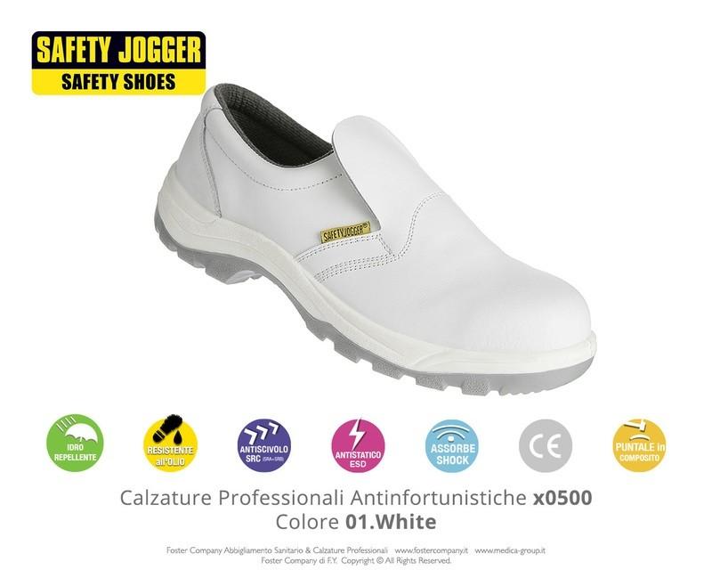 Calzature Professionali Antinfortunistiche con Puntale di Protezione Safety Jogger X0500 Colore 01. White