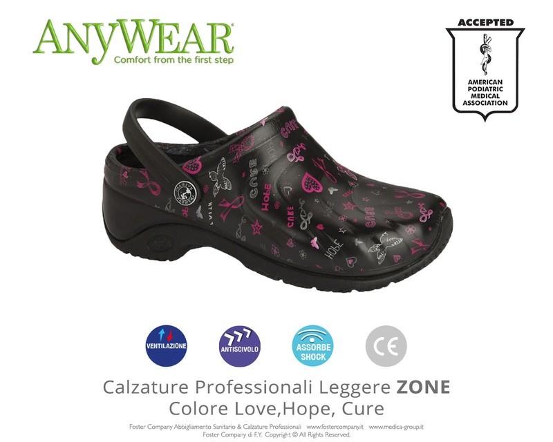 Calzature Professionali Anywear ZONE Colore Love, Hope, Cure