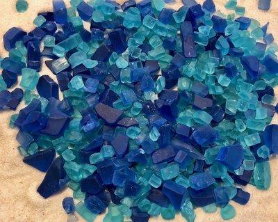 Tiny Cobalt & Turquoise Sea Glass Mix - 1 LB