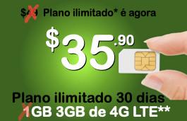 Chip Proximo + pacote Ilimitado 30 dias com 3 Giga de 4G LTE (Estados Unidos+países da América Latina)