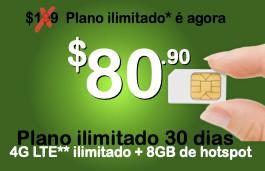 Chip Proximo + pacote ilimitado 30 dias com 4G LTE ilimitado + 8GB para compartilhar via Hotspot (Estados Unidos+países selecionados da América Latina)