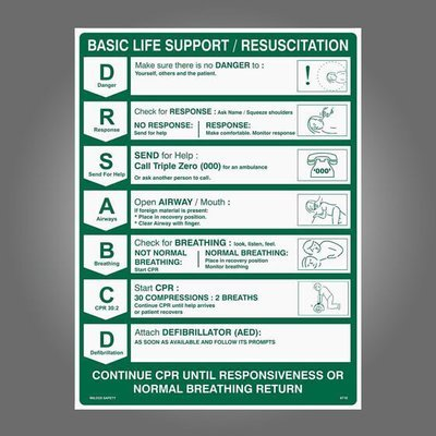 CPR Wall Chart 600 x 450mm Poly
