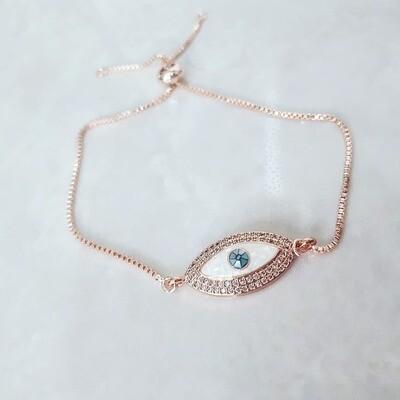 Βραχιόλι  Ροζ-Χρυσό Μάτι Με Ζιργκόν
