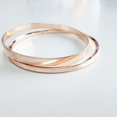 Διπλή Βέργα Ροζ-Χρυσό