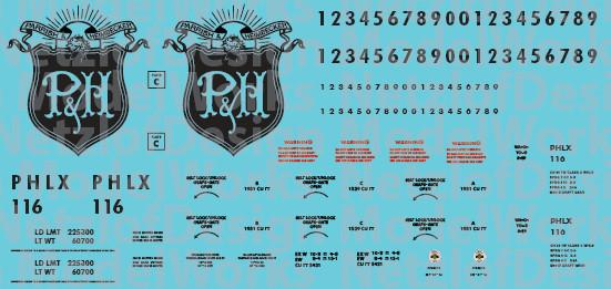 N Scale - Parrish & Heimbecker (PHLX) Covered Hopper Decals