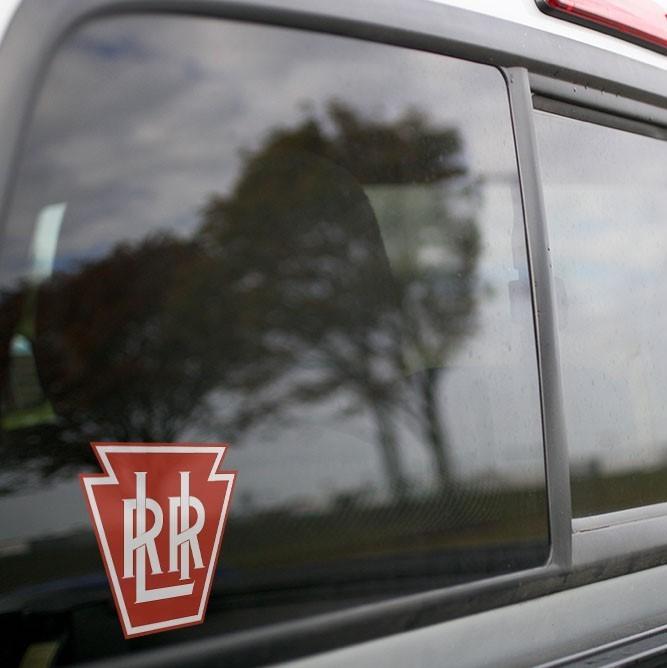 Vinyl Sticker - Long Island Railroad Keystone Logo (LIRR) (Red/White)