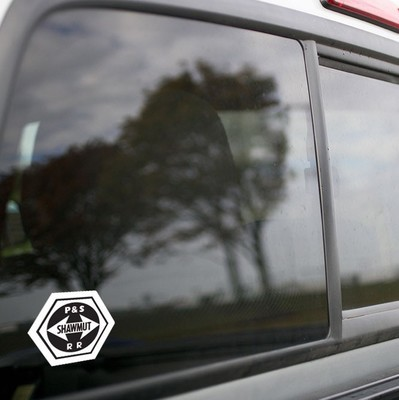 Vinyl Sticker - Pittsburgh Shawmut Railroad (PSR) Logo (Black/White)