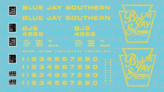 Blue Jay Southern Box Car (BJS) - Yellow Lettering