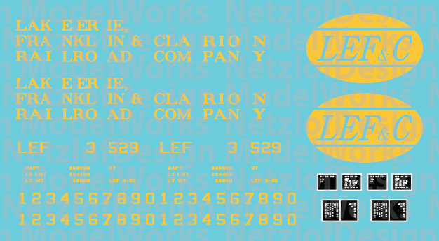 HO Scale - Lake Erie, Franklin & Clarion 100T 3 panel Logo Hopper Decal Set