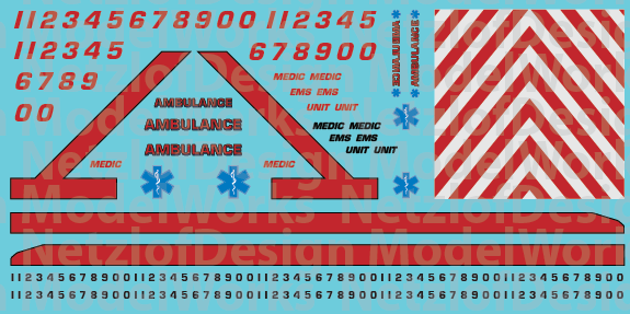 HO Scale Generic Ambulance Decals - Red