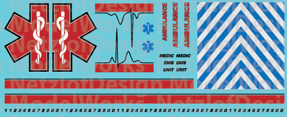 HO Scale Generic Ambulance Star of Life Decals Red/Blue