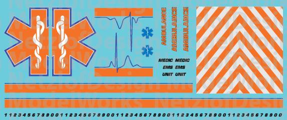 HO Scale Generic Ambulance Star of Life Decals Orange