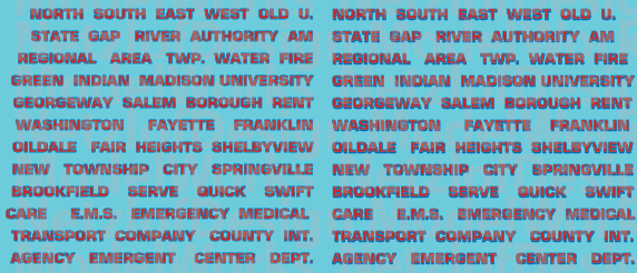 HO Scale - Generic Ambulance Name Decals - Red/Black