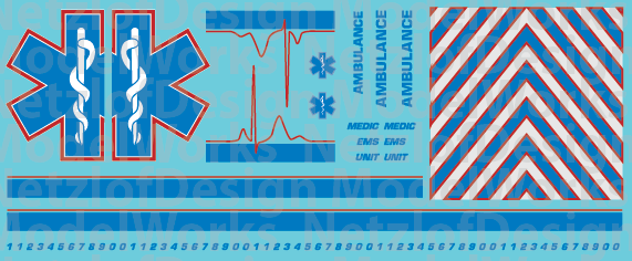 N Scale Generic Ambulance Star of Life Decals Blue/Red
