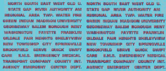 N Scale - Generic Ambulance Name Decals - Red/Black