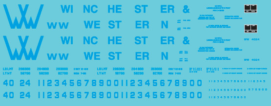 N Scale - Winchester & Western Railroad Yellow/Blue Covered Hopper Decals
