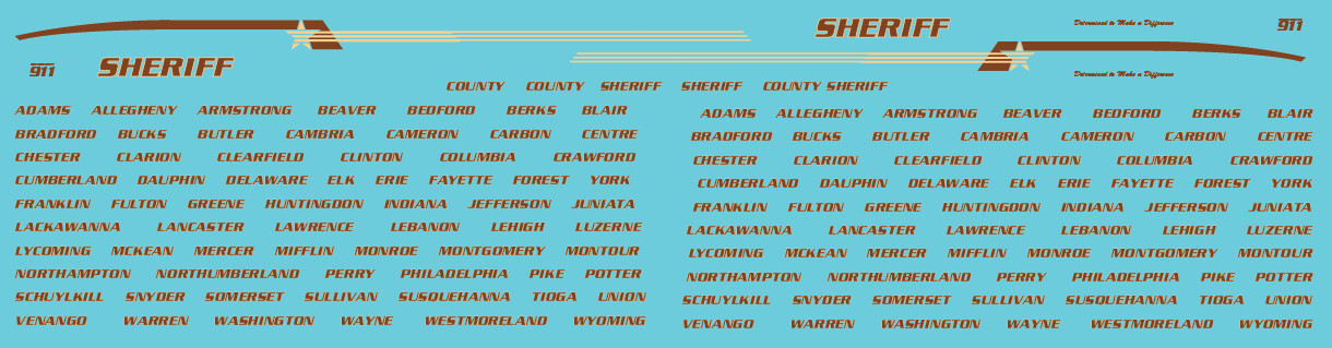 N Scale - Generic County Sheriff Vehicle Decals Brown/Yellow