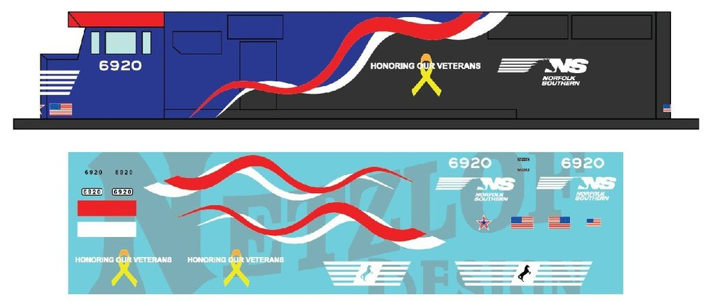 """HO Scale - Norfolk Southern SD60E Decal Set - NS 6920 """"Honoring Our Veterans"""""""