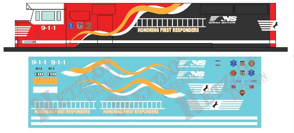 """N Scale - NS SD60E #911 """"Honoring First Responders"""" Decal Set"""