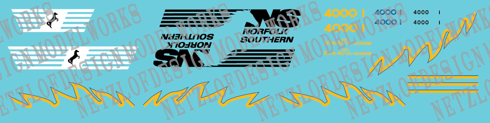 N Scale - Norfolk Southern AC44C6M Decal Set 4000/4001(Blue/Yellow)