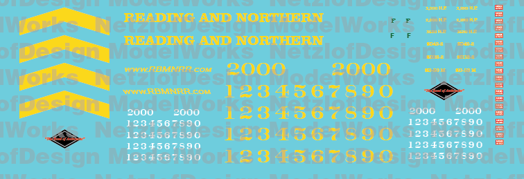 HO Scale - Reading & Northern Locomotives SD38 & SD40-2 Decal Set
