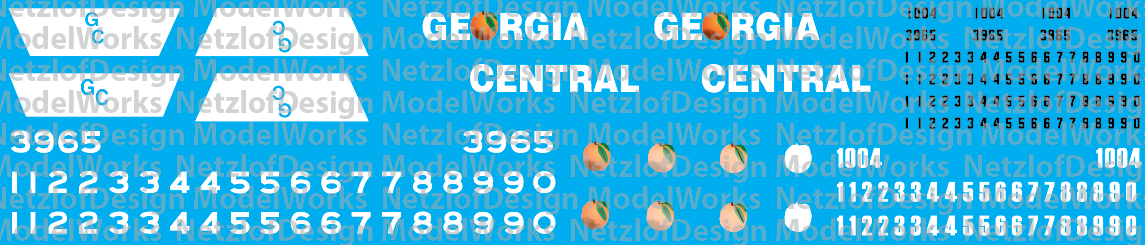 N Scale - Georgia Central Railroad Decal set, Black and White Paint Scheme