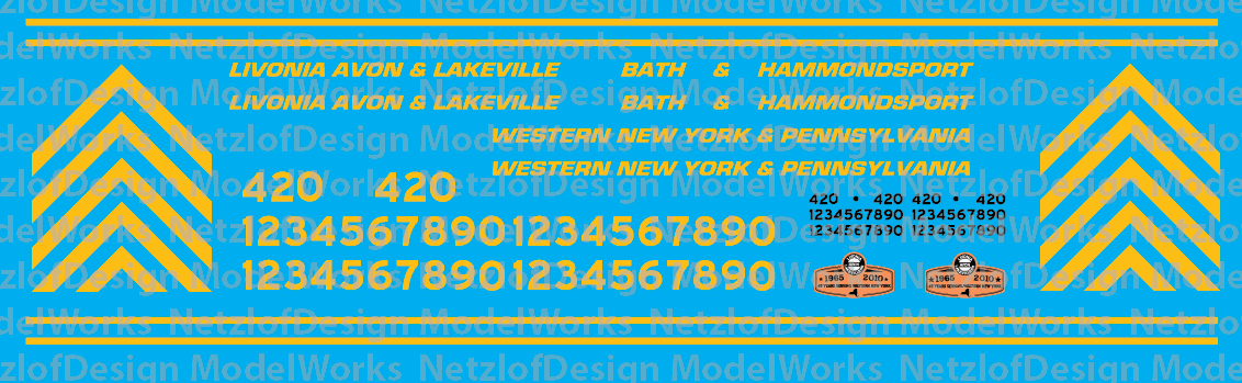 HO Scale - Livonia Avon & Lakeville Family of Railroads Locomotive Decals