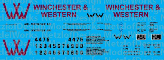 N Scale - Winchester & Western Railroad 2-bay Centerflow Logo Decal Set