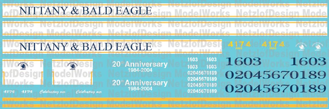 HO Scale - Nittany & Bald Eagle Locomotive Decal Set