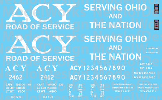 N Scale - Akron, Canton and Youngstown 50' Black Boxcar Decals (ACY)